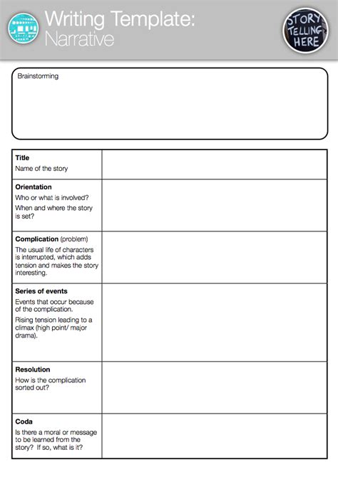 writing a story template template narrative