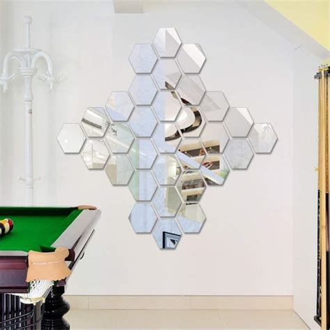 home decor free shipping 12pcs set acrylic silver 3d hexagonal mirror wall stickers