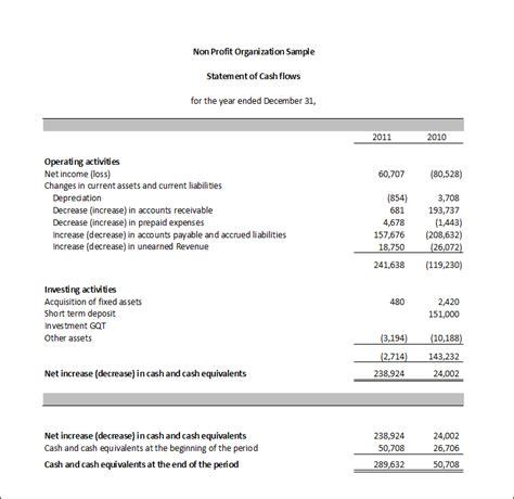 business projection format simple cash flow statement template