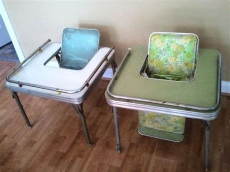 Two 2 1950's Chrome Vinyl Baby Child Feeding Chair Table