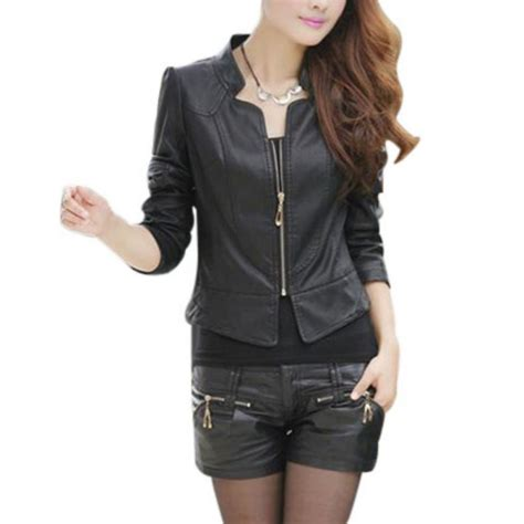 Jaket Parka Korean Style new korean style womens pu leather motorcycle leather