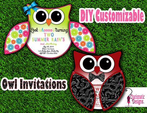 free diy customizable owl invitation printable template on
