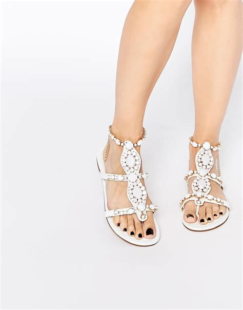 ivory flat sandals forever unique calipso embellished flat sandals in white