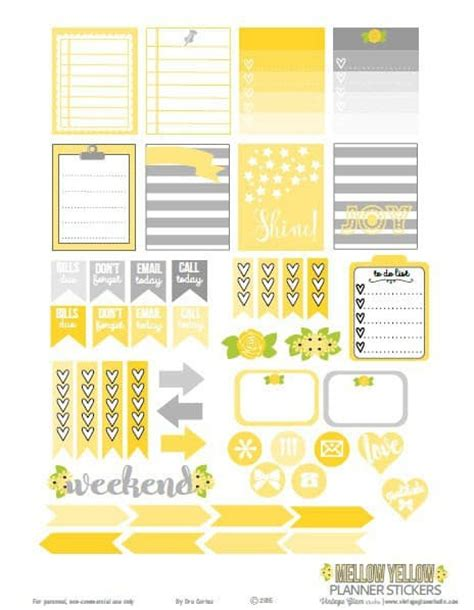 mellow yellow siege social weekly planner printables free for your planner