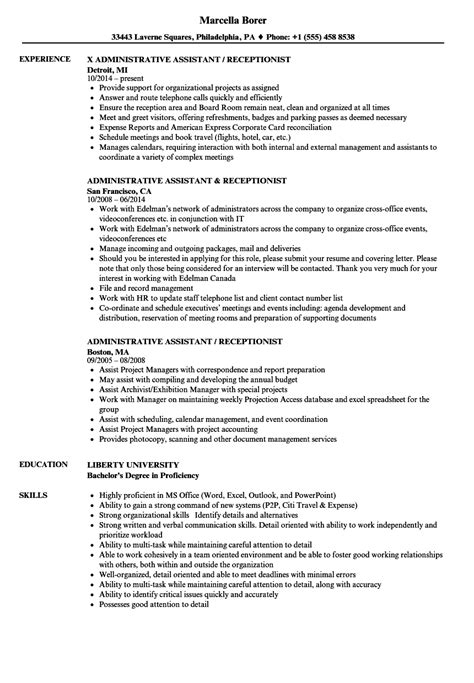 Administrative Assistant Receptionist Resume Sles Velvet Jobs Receptionist Administrative Assistant Description Template
