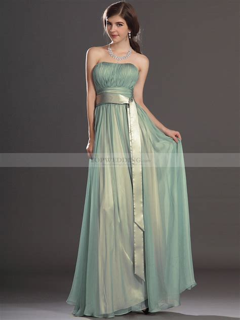 Chiffon Bridesmaid Dress by Strapless Pleated A Line Chiffon Bridesmaid Dress With