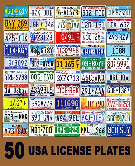 Route 66 Home Decor by 50 Assorted Usa License Plates Color United States Tag