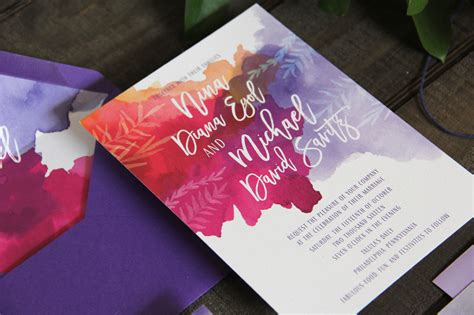 Purple Wedding Invitation Paper by Purple And Fuchsia Watercolor Wedding Invitations
