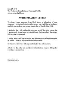 Authorization Letter Transfer Account pldt authorization letter sample