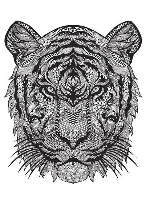 coloring pages for adults tiger bestiaire extraordinaire 100 coloriages anti stress