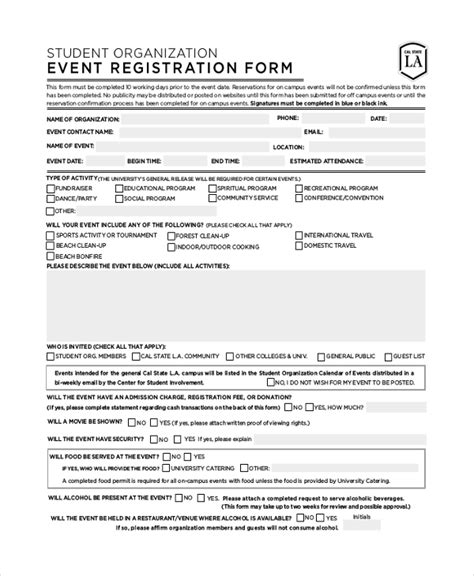 Sle Registration Form 21 Free Documents In Pdf Conference Registration Template