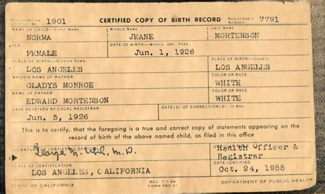 Michigan Birth Records File Marilyn Birth Certificate Original Jpg