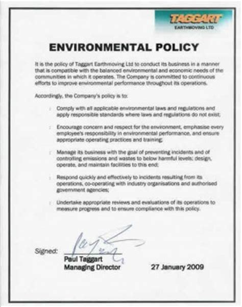 environmental statement template environmental policy quotes quotesgram