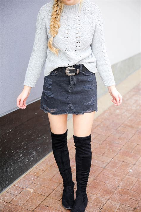 Edgy Skirt edgy skirt meets comfy sweater ootd daily dose of charm