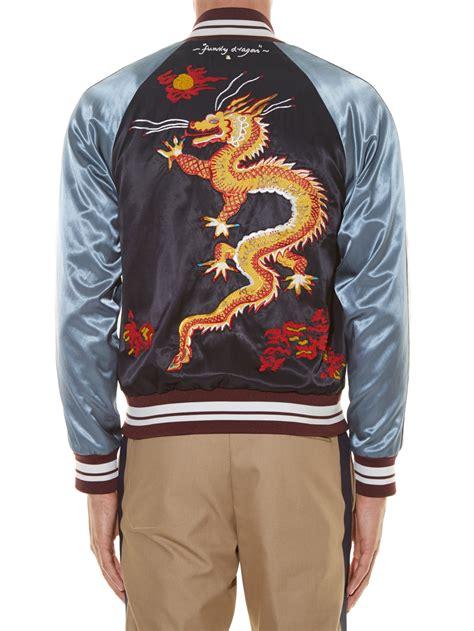 Embroidered Baseball Jacket lyst valentino embroidered satin baseball jacket