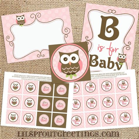 owl printable party kit girl owl baby shower printable decorations instant