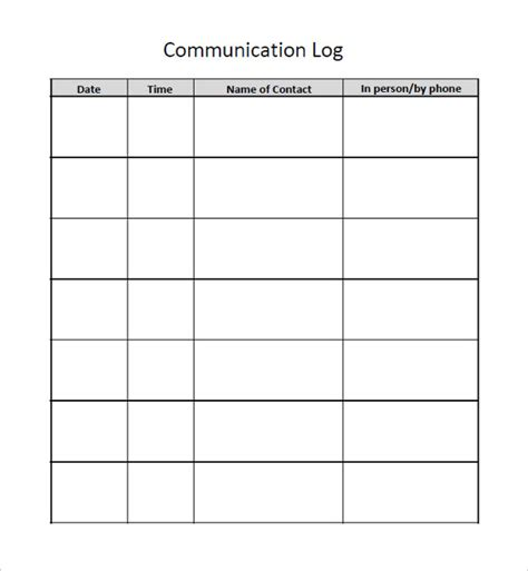 communication log template free communication log template 8 free word pdf documents