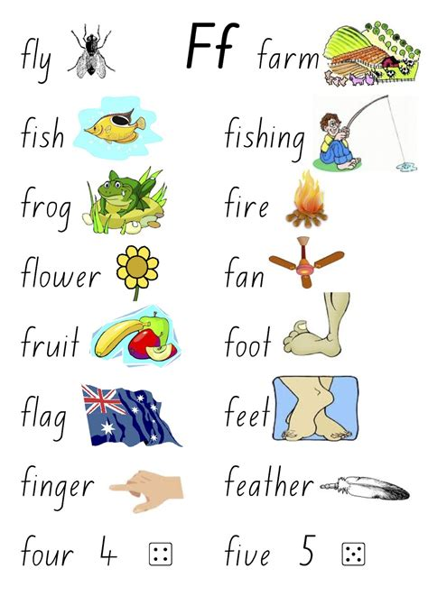 4 Letter Words With F 4 letter words starting with f worksheet kindergarten