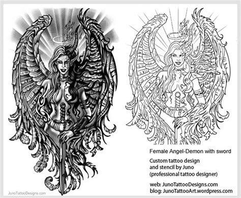 angels and demons tattoo designs archives how to create a 100