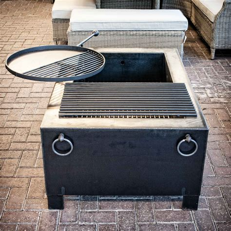 swing arm grill fire pit box with swing arm grill