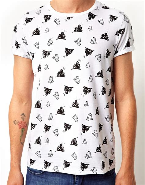 Tshirt Singer Mens Ghosted Roffico Cloth lyst asos t shirt with all ghost print in white for