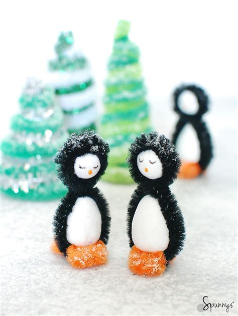 Making Christmas Decorations At Home Pipe Cleaner Penguins Diy Winter Craft Ideas Spunnys