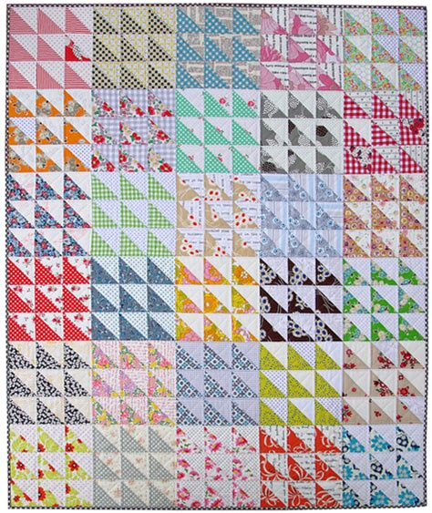 pepper quilts retro half square triangle hst quilt
