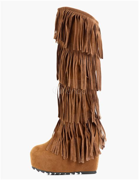 fringe knee high wedge boots milanoo