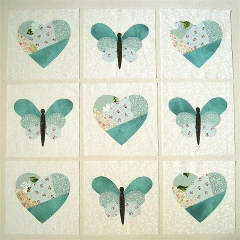 Applique Patchwork - hearts butterflies in blue large applique quilt block