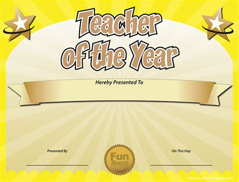 free certificate templates for teachers free of the year award certificate template