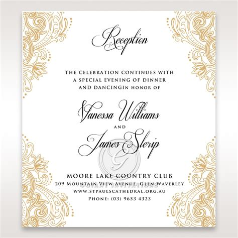 imperial and glamorous inspired reception card