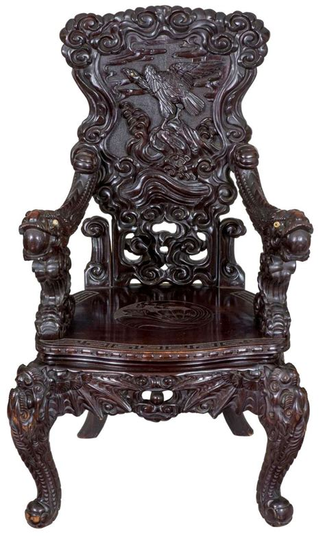 japanese armchair magnificent carved japanese armchair with inset ivory