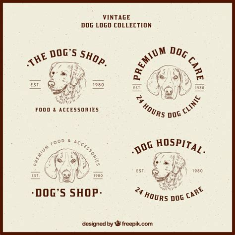 retro style pet icons set vector free download set of four dog logos in vintage style vector free download