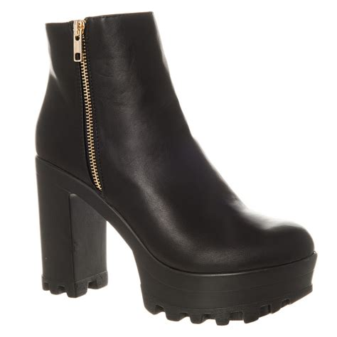 high heel chunky cleated platform ankle boot miss