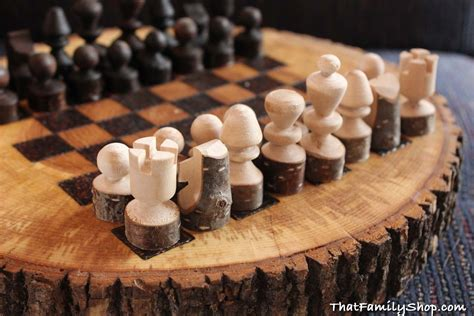 Mid Century Modern Chess Set by Custom Made Rustic Wood Log Chess Set By That Family Shop