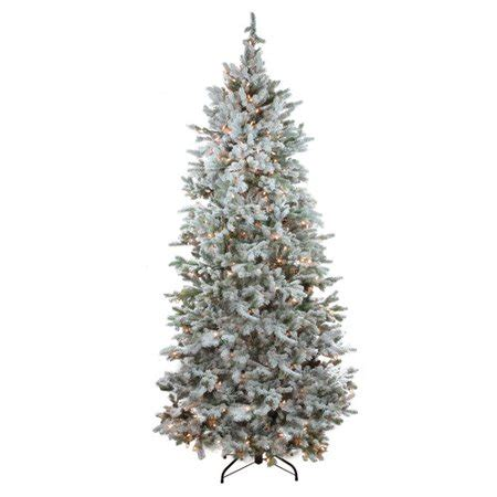 menards colorado flocked pine northlight seasonal 7 5 white green spruce artificial tree with 500 clear lights with