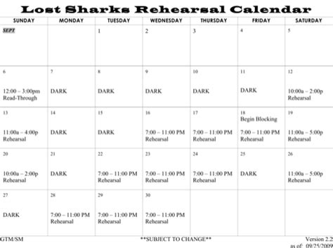 Rehearsal Calendar Template by Rehearsal Schedule Template For Free Formtemplate