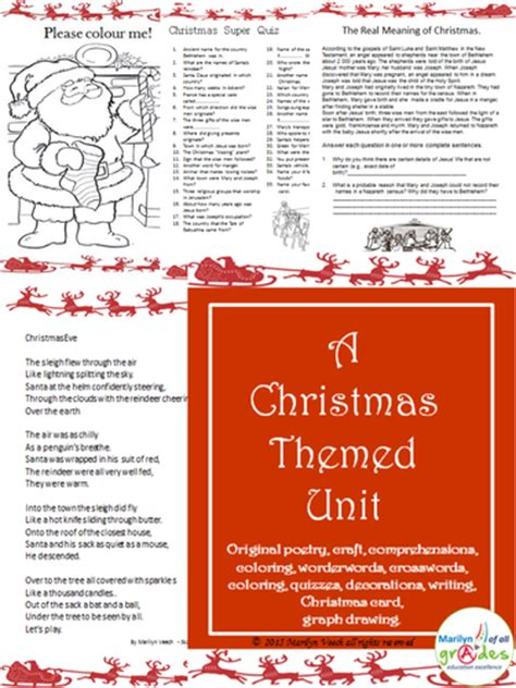 themes for language arts units a christmas themed language arts unit by marliv