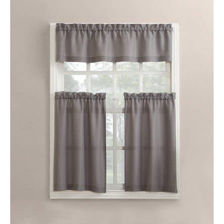 mainstays solid 3piece kitchen curtain tier and valance