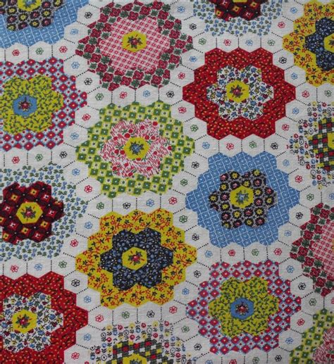 vintage feedsack in hexagon quilt cheater cloth pattern