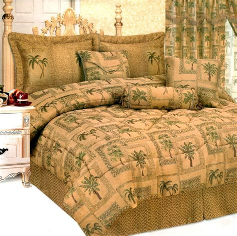 green palm tree bed in a bag comforter set queen brown ebay