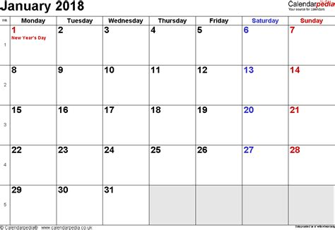 Printable Calendar Uk | calendar january 2018 uk bank holidays excel pdf word