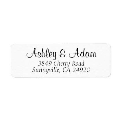 return address labels black and white wedding design 30 per page