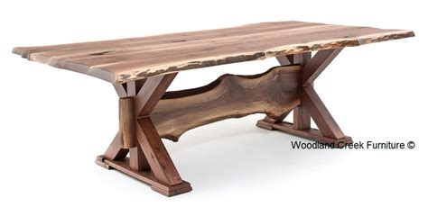 Farmhouse Dining Room Tables by Rustic Table Live Edge Table Trestle Base Solid Wood