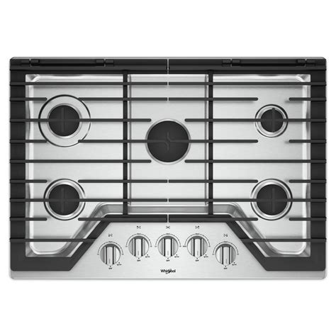 whirlpool gas cooktop 30 whirlpool 30 in gas cooktop in stainless steel with 5