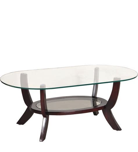 Saffron Oval Shaped Glass Coffee Table With Mudramark By Oval Shaped Coffee Table