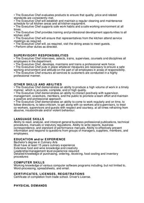 executive chef job description chef resume sample 3 pastry chef