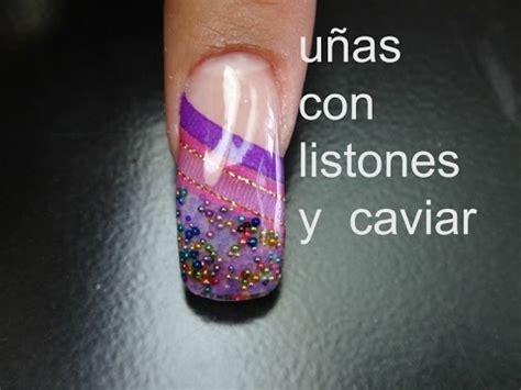 imagenes de uñas acrilicas con liston u 241 as con listones y caviar encapsulado sin limar youtube