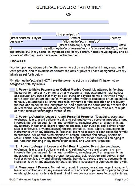 Free Printable General Power Of Attorney Forms General Power Of Attorney Template