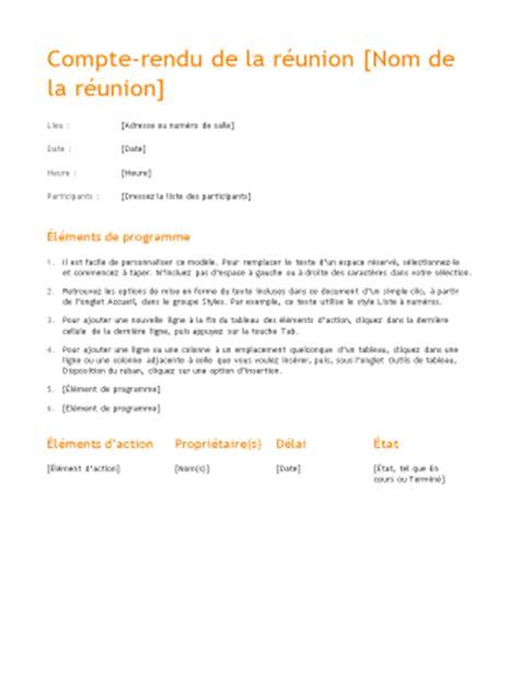 Modèles De Lettre De Compte Rendu Ordre Du Jour De R 233 Union Classique Office Templates